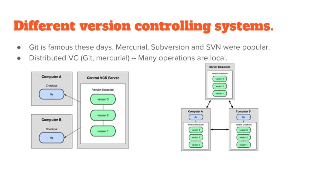 Different version controlling systems. ● Git is...