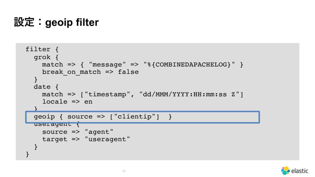 """ઃఆɿgeoip filter 31 filter { grok { match => { """"..."""
