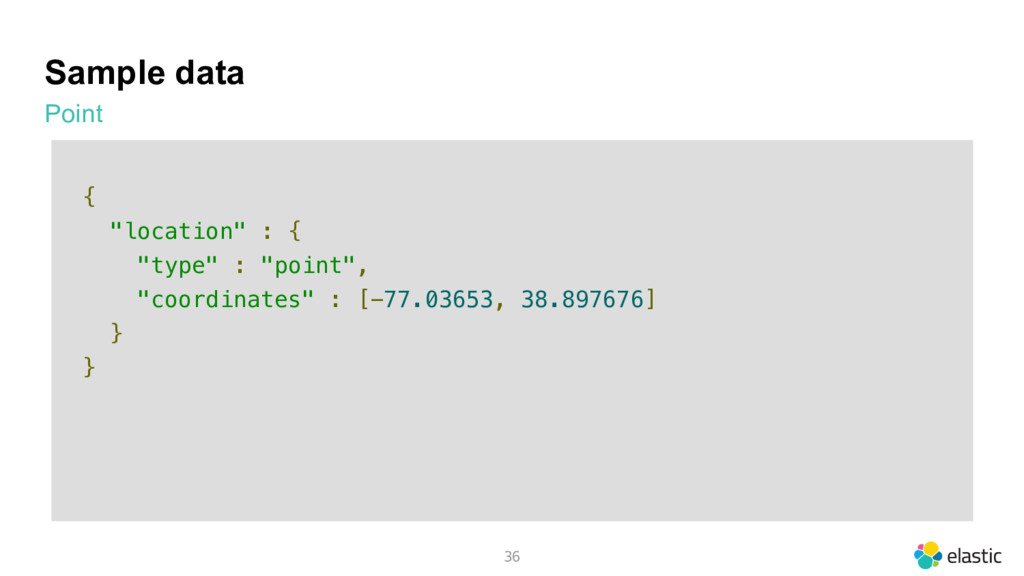 "Sample data Point 36 { ""location"" : { ""type"" : ..."