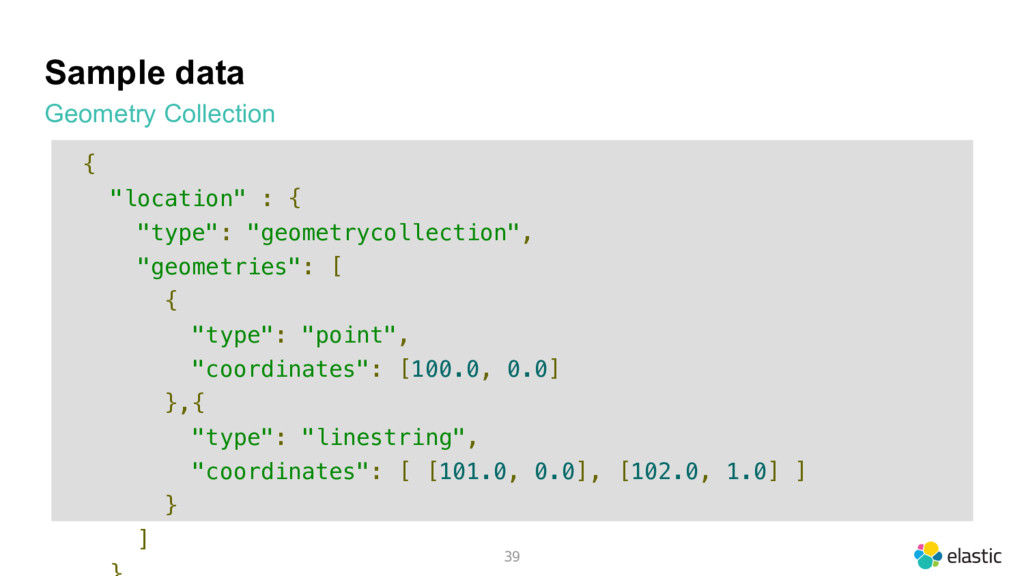 """Sample data Geometry Collection 39 { """"location""""..."""
