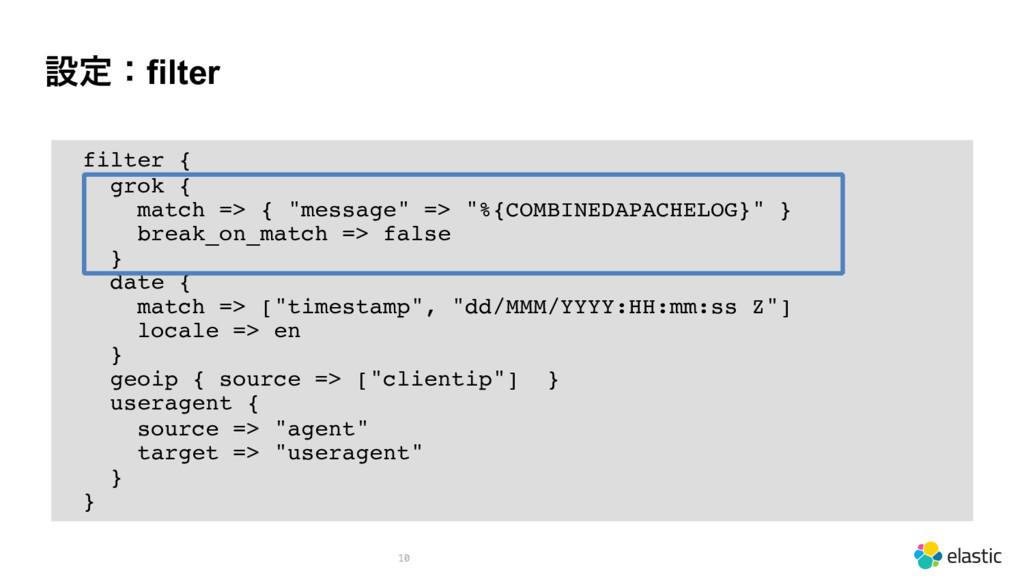 """ઃఆɿfilter 10 filter { grok { match => { """"messag..."""