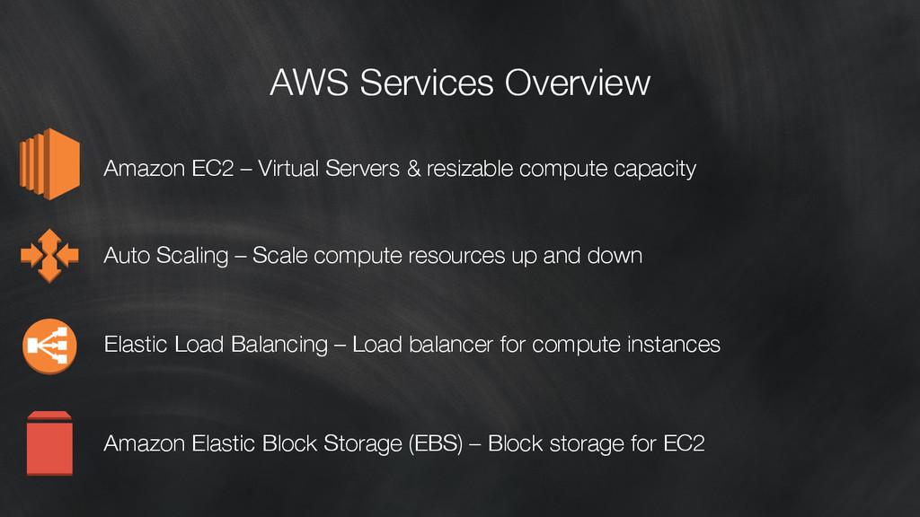 AWS Services Overview Amazon EC2 – Virtual Ser...
