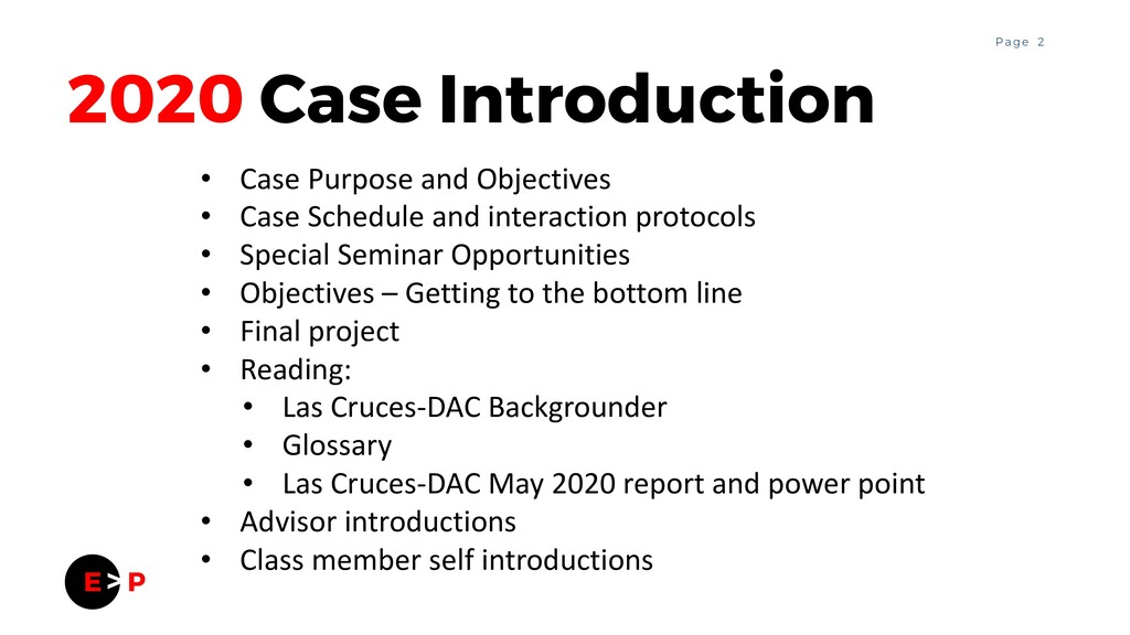 2 P a g e 2020 Case Introduction • Case Purpose...