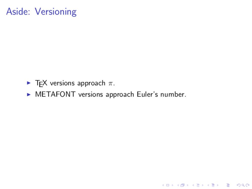 Aside: Versioning TEX versions approach π. META...