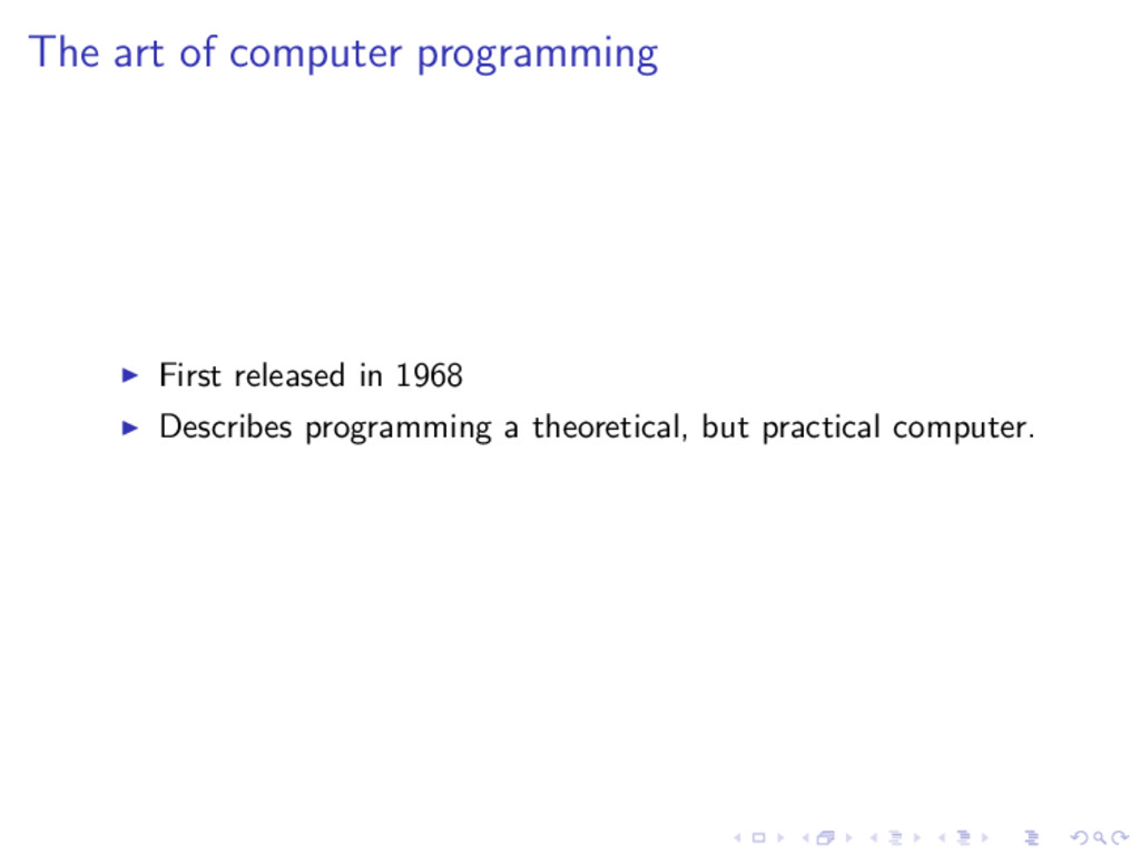 The art of computer programming First released ...