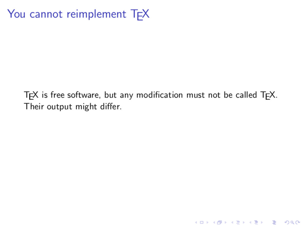 You cannot reimplement TEX TEX is free software...