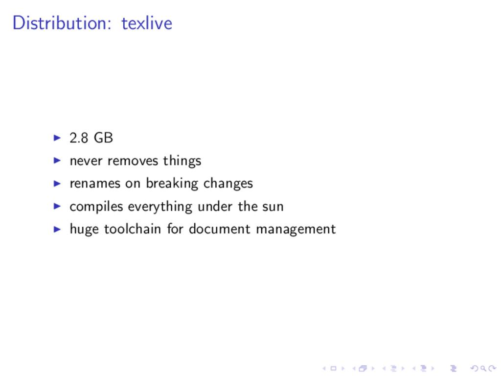 Distribution: texlive 2.8 GB never removes thin...
