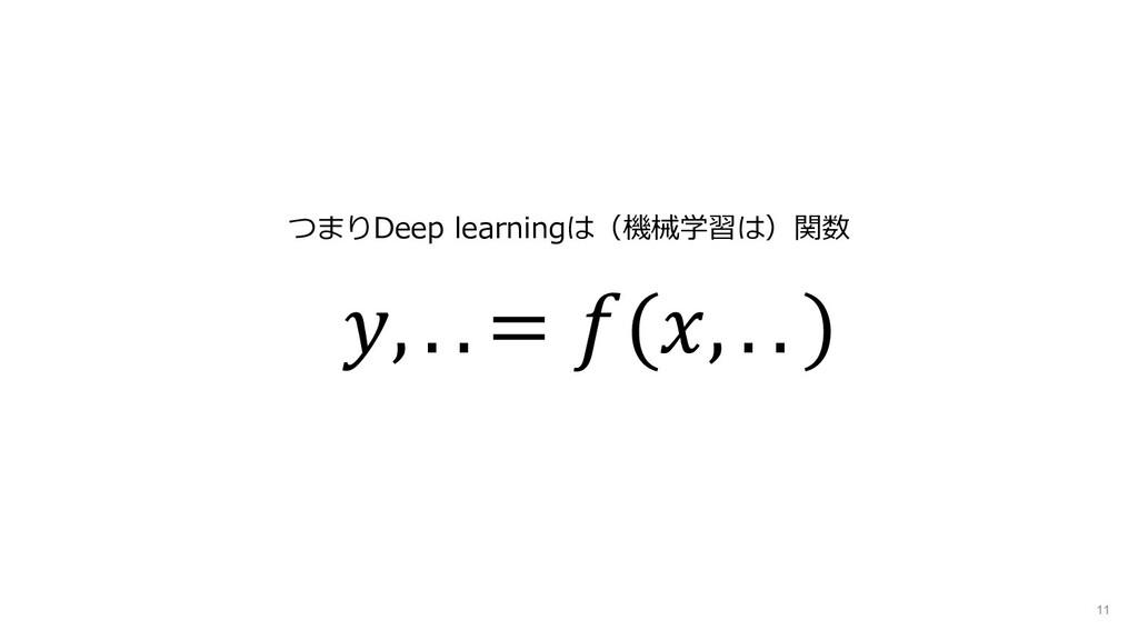 11 , . . = (, . . ) つまりDeep learningは(機械学習は)関数