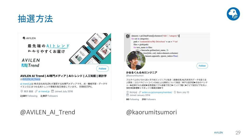 AVILEN 29 抽選方法 @AVILEN_AI_Trend @kaorumitsumori