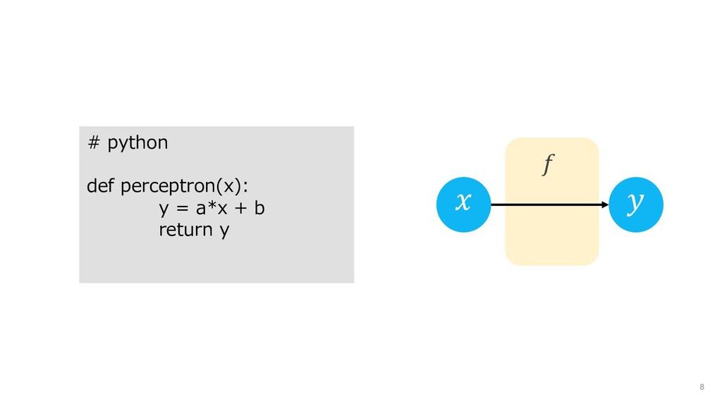 8    # python def perceptron(x): y = a*x + b re...