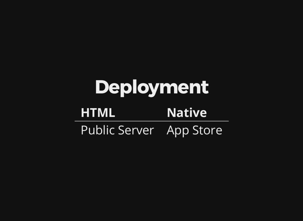 Deployment HTML Native Public Server App Store