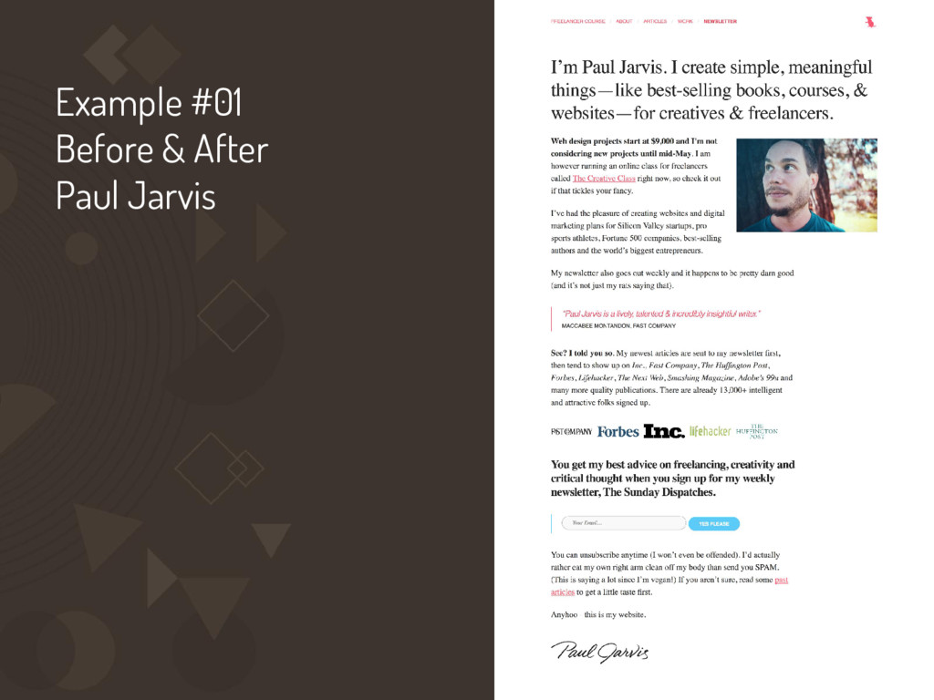 Example #01 Before & After Paul Jarvis