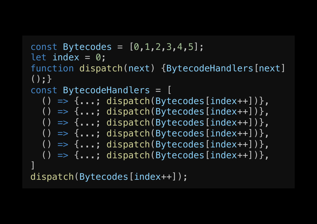 const Bytecodes = [0,1,2,3,4,5];! let index = 0...