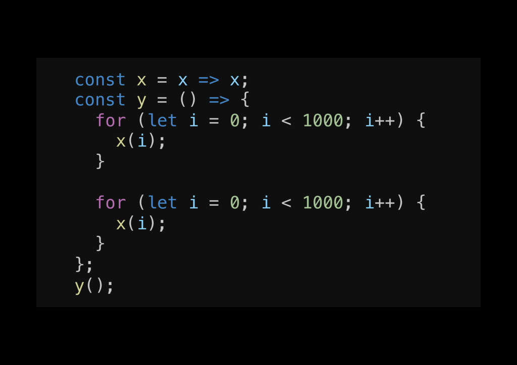 const x = x => x;! const y = () => {! for (let ...
