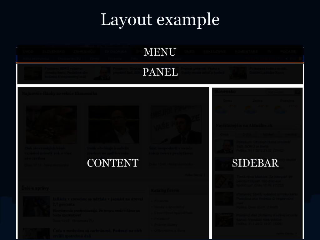 Layout example CONTENT SIDEBAR MENU PANEL