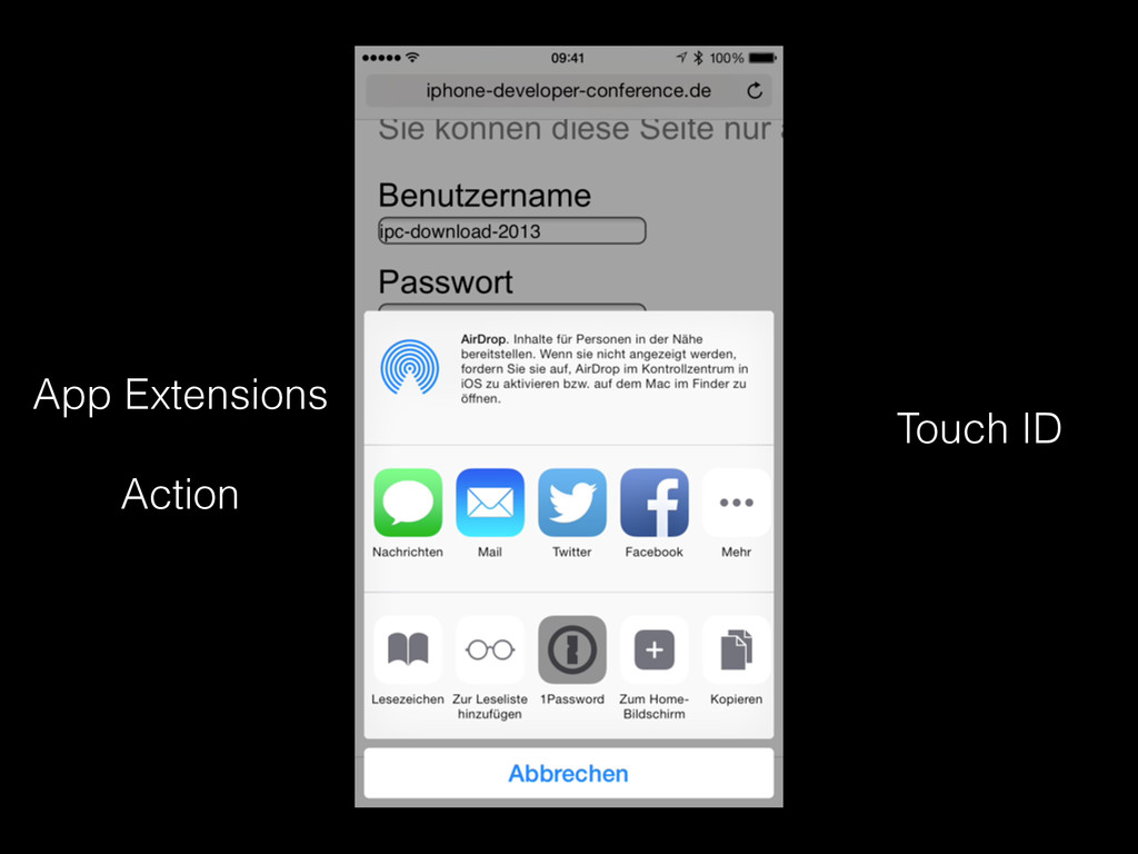 App Extensions Touch ID Action