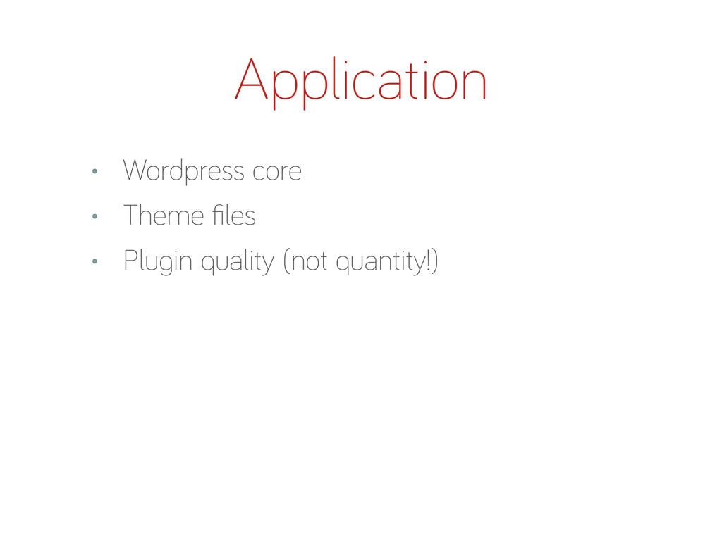 Application • Wordpress core • Theme files • Plu...