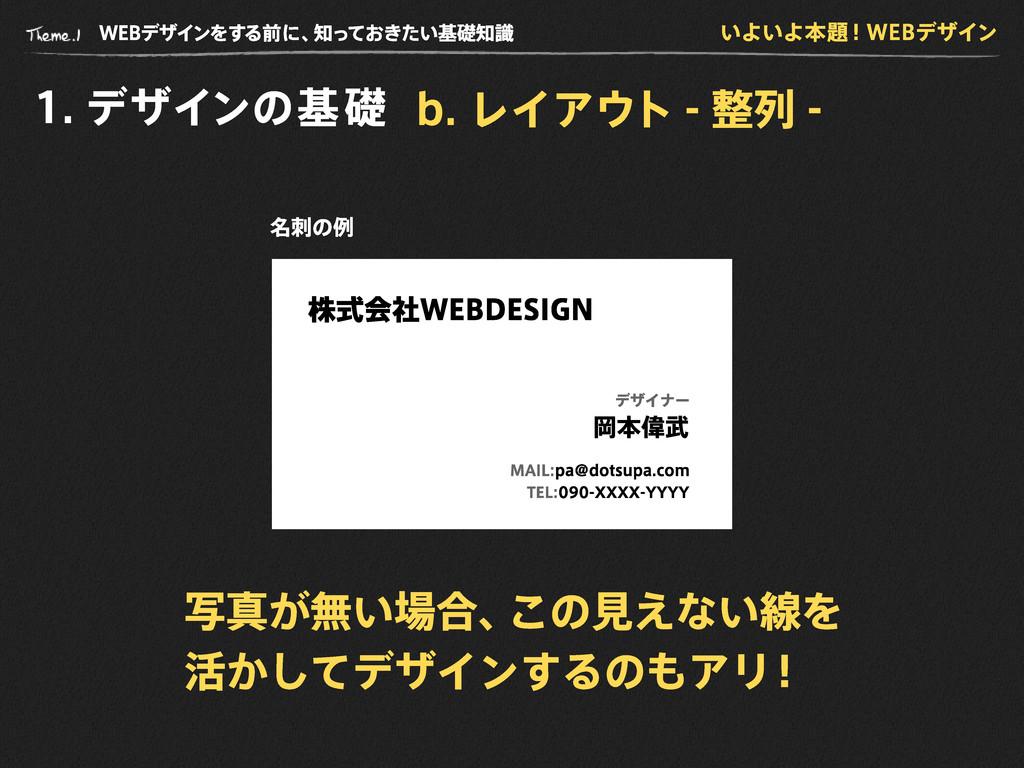 WE B デザインをする前に、 知っておきたい基礎知識 1 . デザインの基礎 いよいよ本題!...