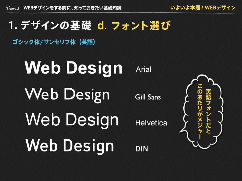 WE B デザインをする前に、 知っておきたい基礎知識 1 . デザインの基礎 d . フォン...