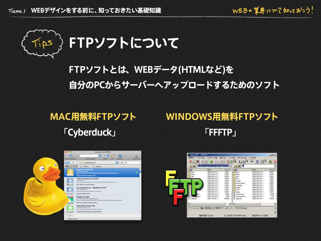 WE B デザインをする前に、 知っておきたい基礎知識 F T P ソフトについて F T P...