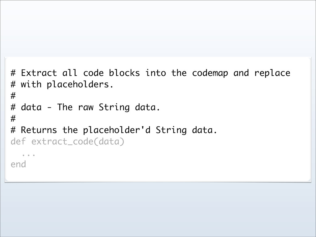 # Extract all code blocks into the codemap and ...