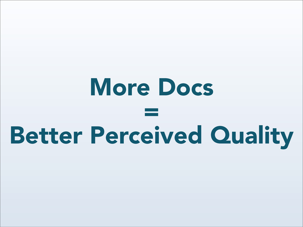 More Docs = Better Perceived Quality