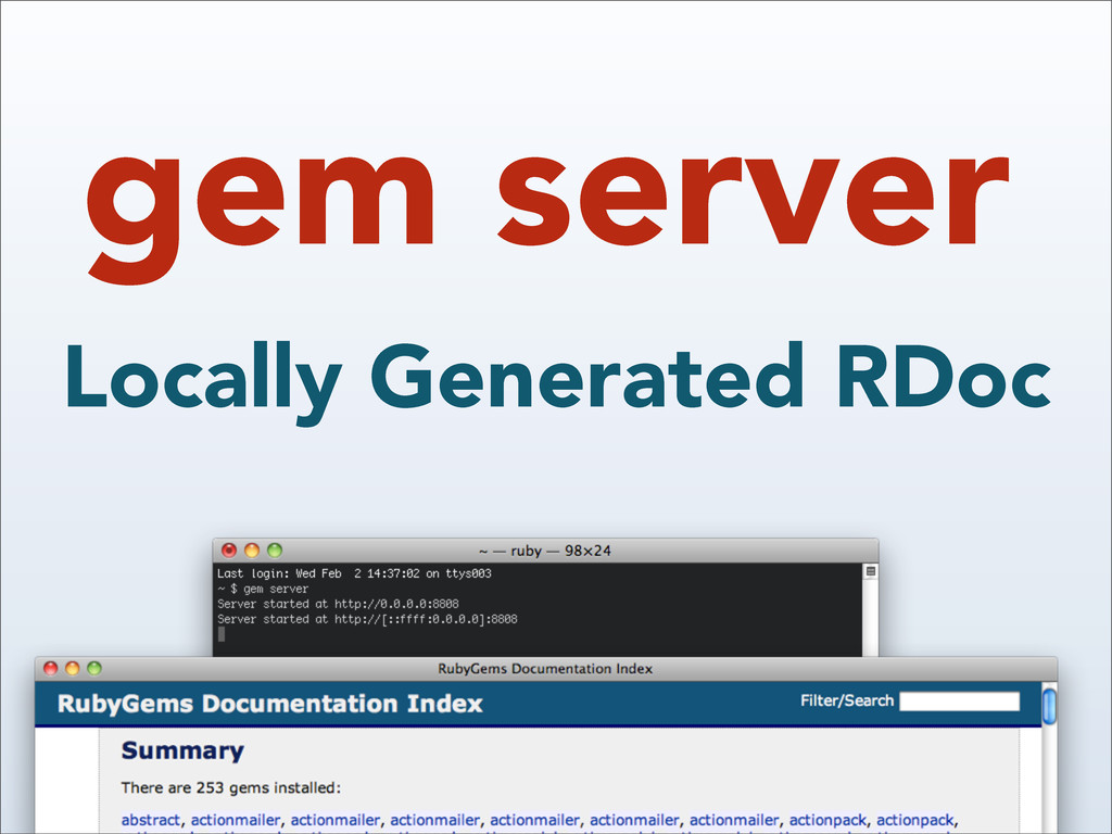 gem server Locally Generated RDoc
