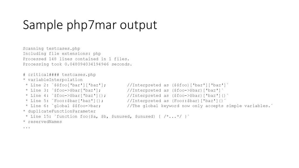 Sample php7mar output Scanning testcases.php In...