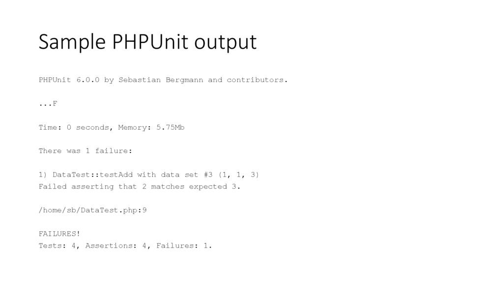 Sample PHPUnit output PHPUnit 6.0.0 by Sebastia...
