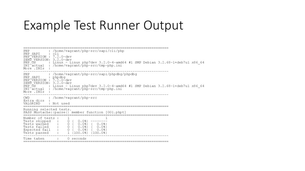Example Test Runner Output ====================...