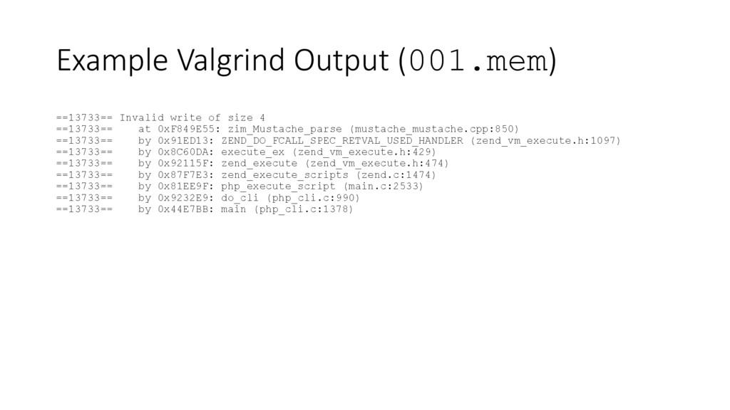 Example Valgrind Output (001.mem) ==13733== Inv...