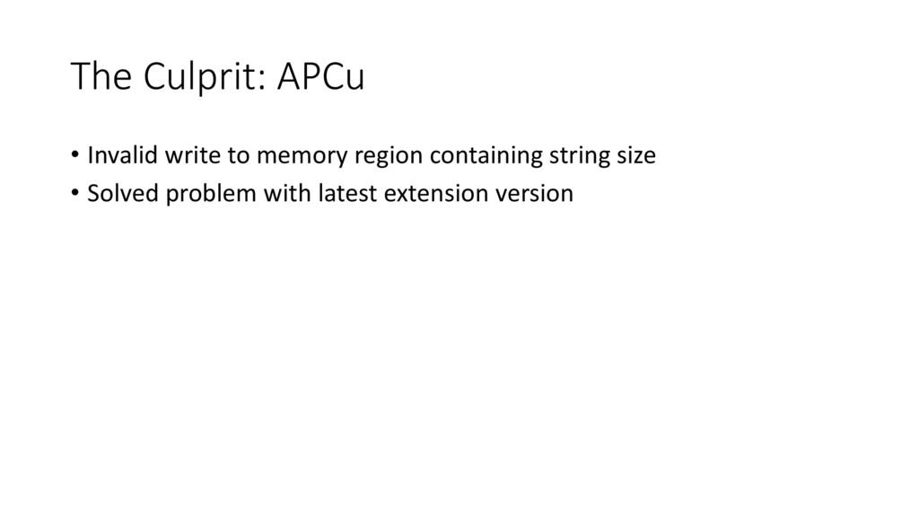The Culprit: APCu • Invalid write to memory reg...