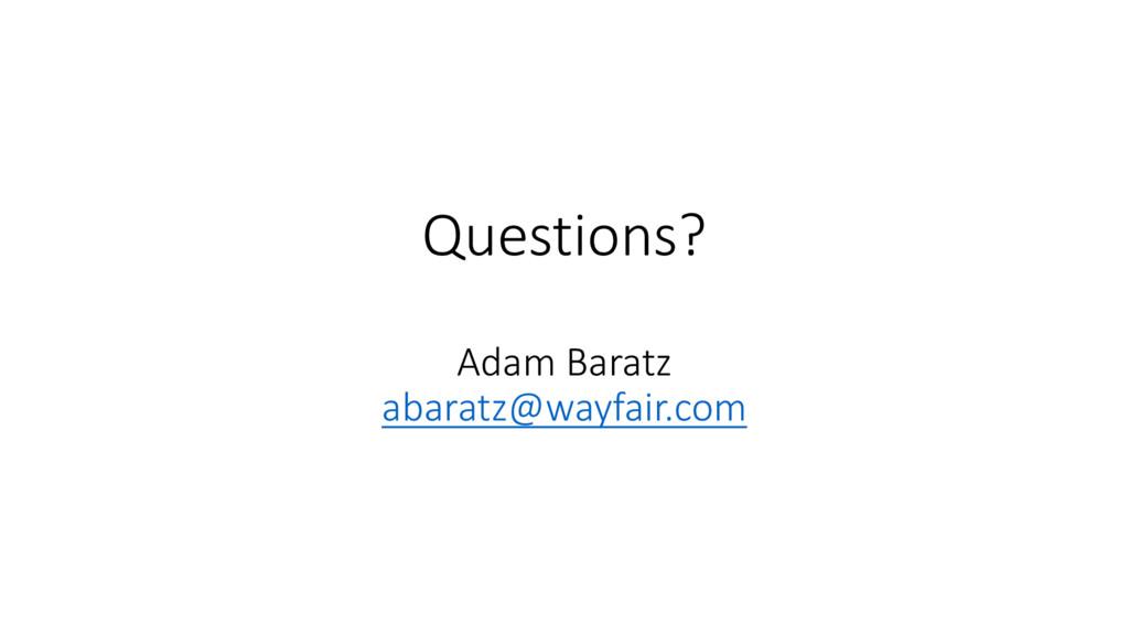 Questions? Adam Baratz abaratz@wayfair.com