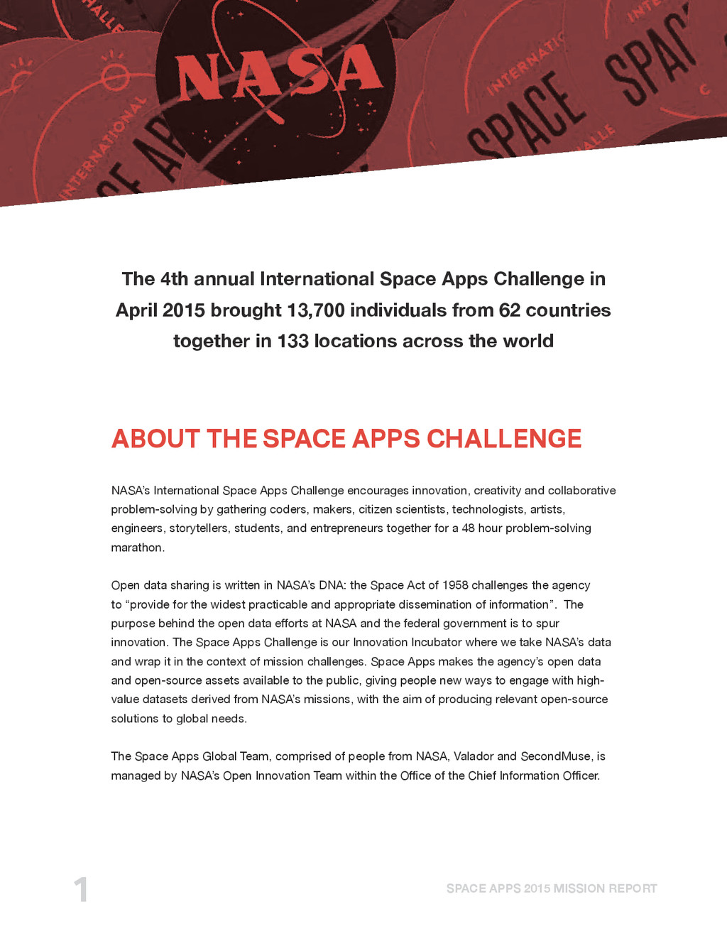 SPACE APPS 2015 MISSION REPORT 1 The 4th annual...
