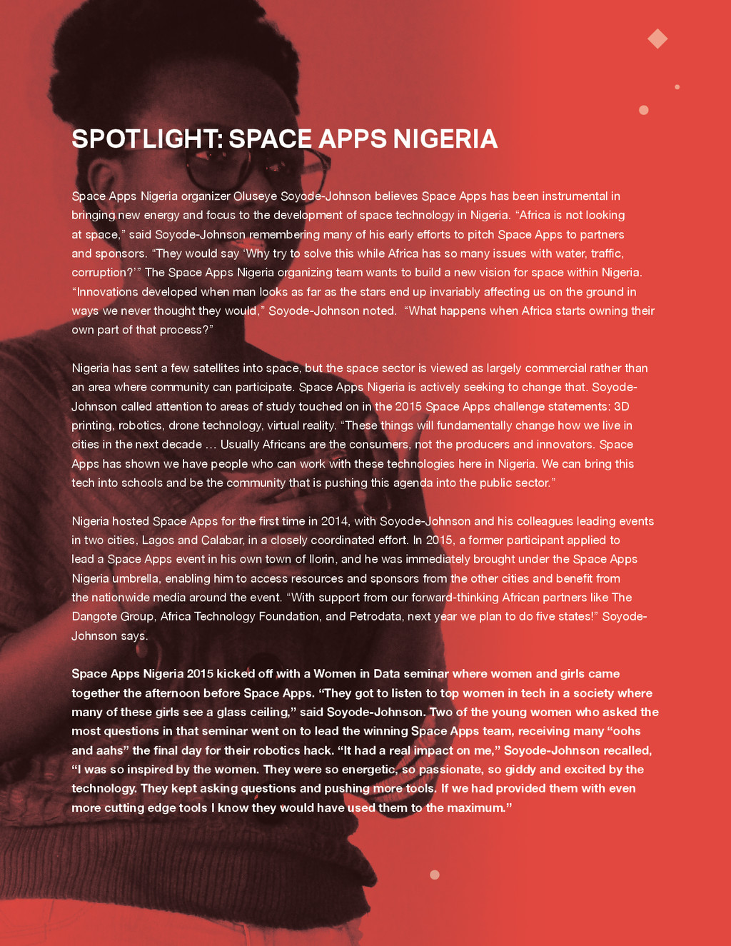 SPACE APPS 2015 MISSION REPORT 13 Space Apps Ni...
