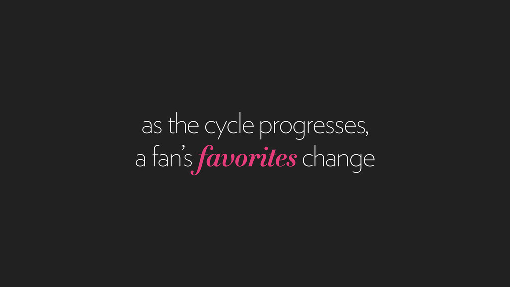 as the cycle progresses, a fan's favorites chan...