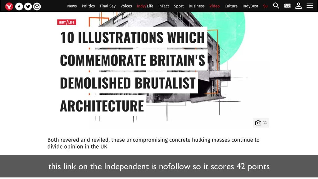 this link on the Independent is nofollow so it ...