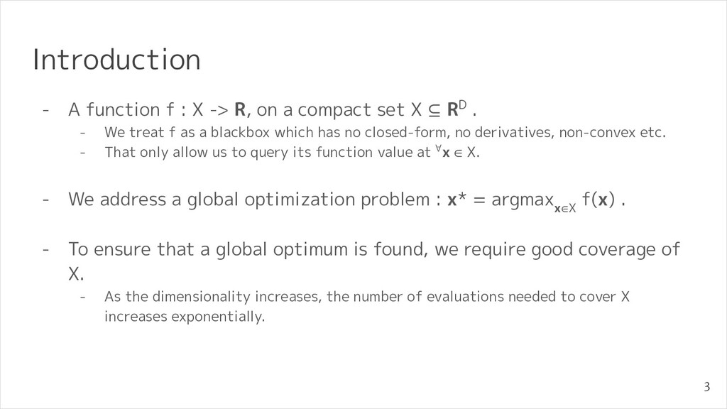 Introduction - A function f : X -> R, on a comp...