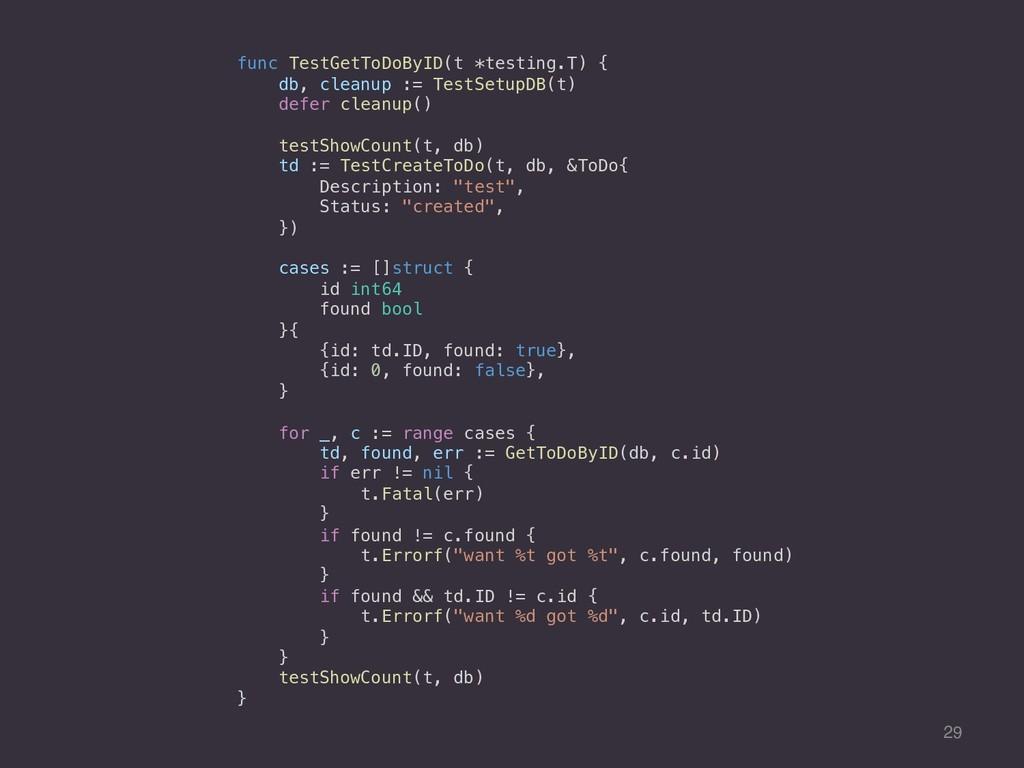 29 func TestGetToDoByID(t *testing.T) { db, cle...