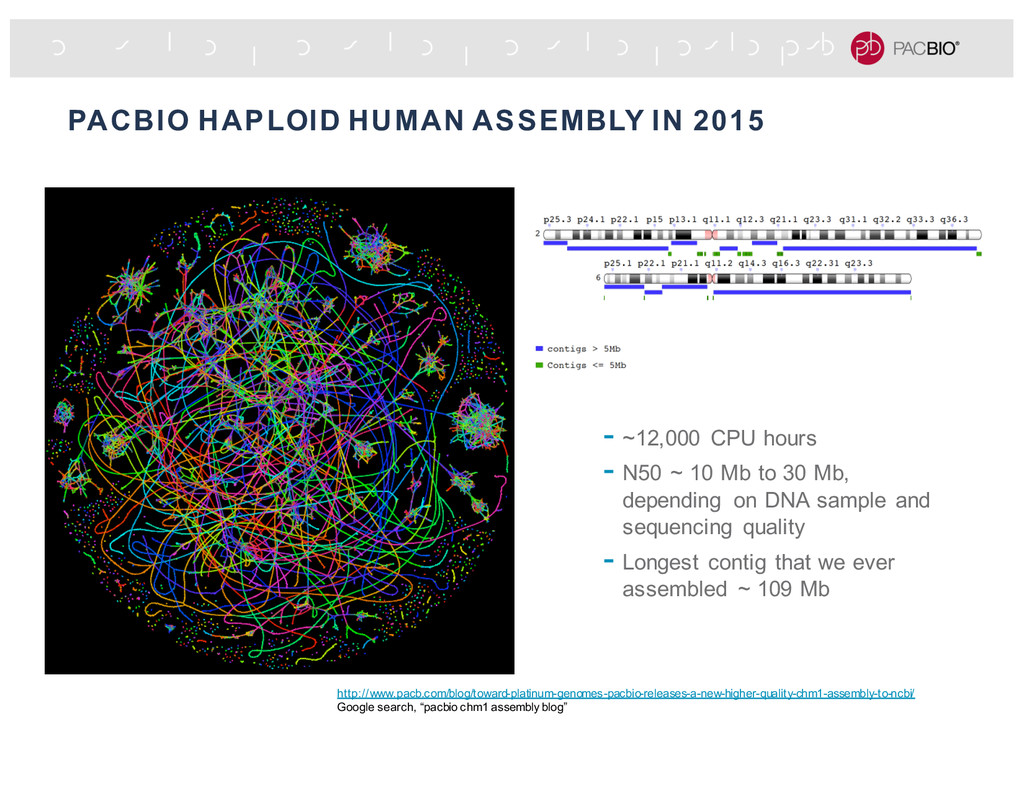PACBIO HAPLOID HUMAN ASSEMBLY IN 2015 - ~12,000...