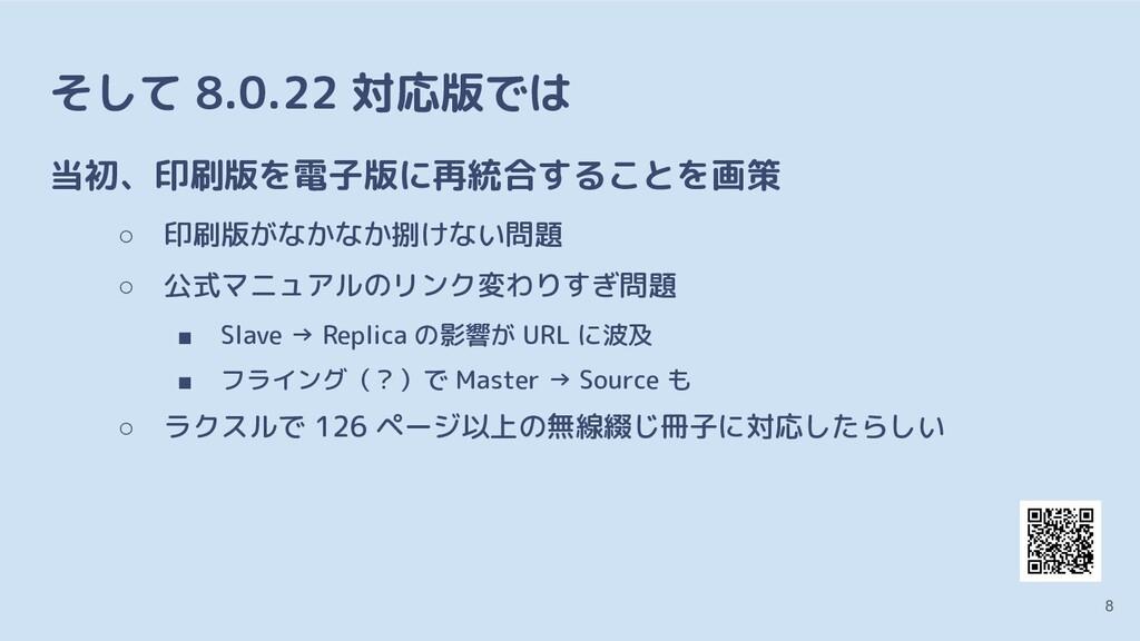 そして 8.0.22 対応版では 当初、印刷版を電子版に再統合することを画策 ○ 印刷版がなか...