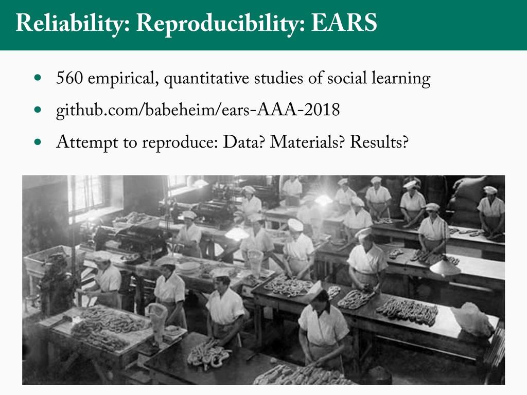 Reliability: Reproducibility: EARS • 560 empiri...