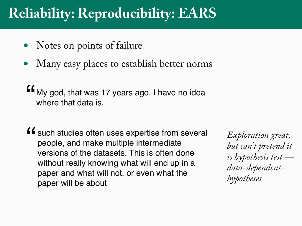 Reliability: Reproducibility: EARS • Notes on p...