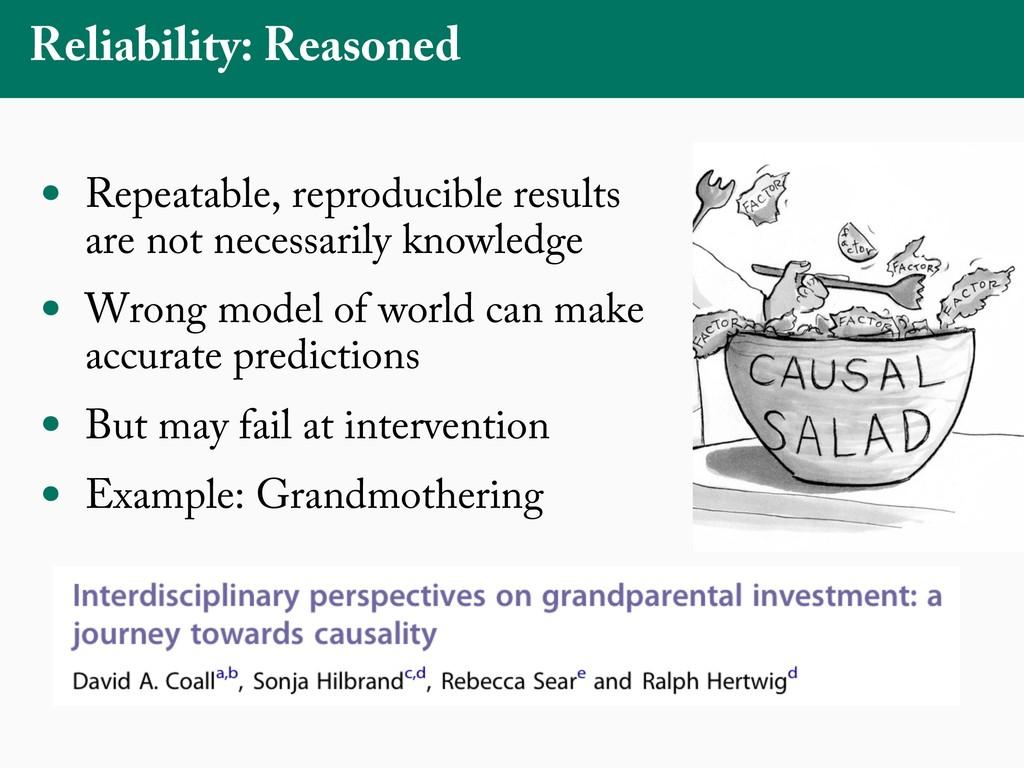 Reliability: Reasoned • Repeatable, reproducibl...