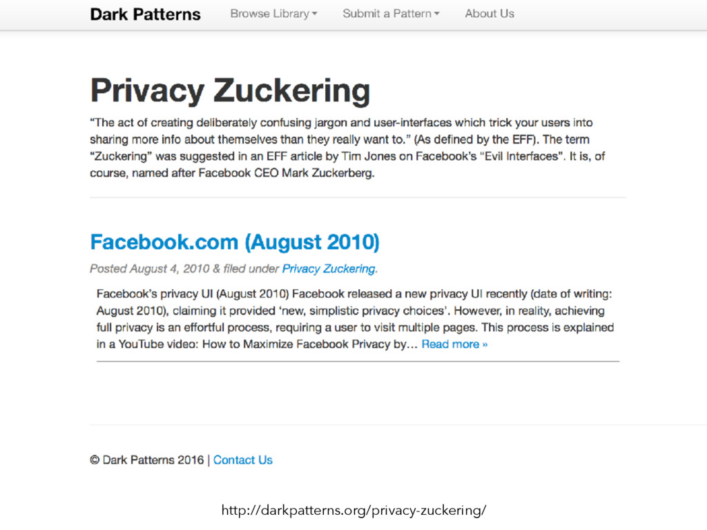 http://darkpatterns.org/privacy-zuckering/