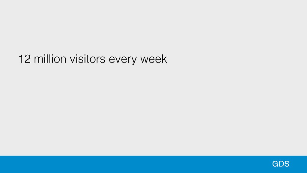 12 million visitors every week ! GDS