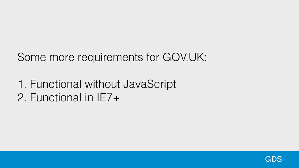 90 90 GDS Some more requirements for GOV.UK: !...