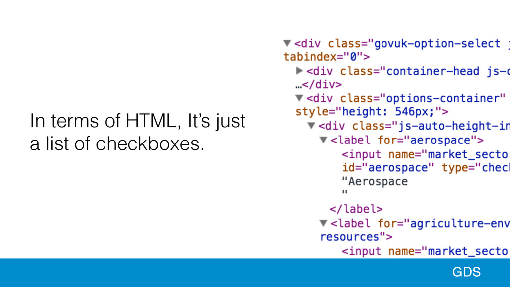 99 GDS In terms of HTML, It's just a list of ch...