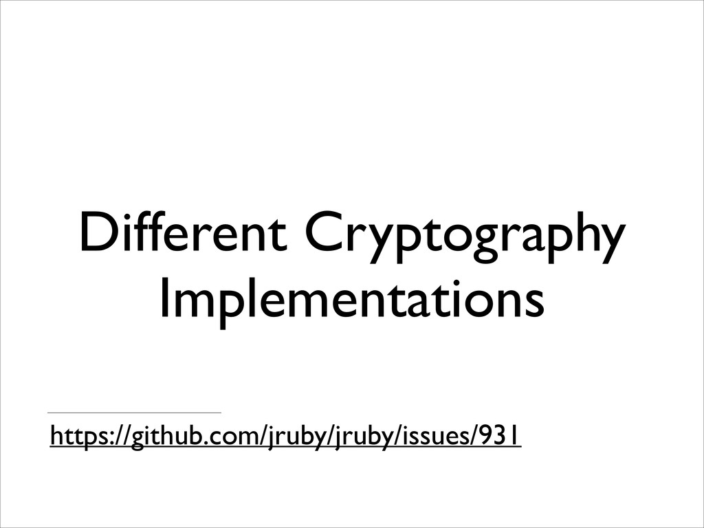 Different Cryptography Implementations https://...