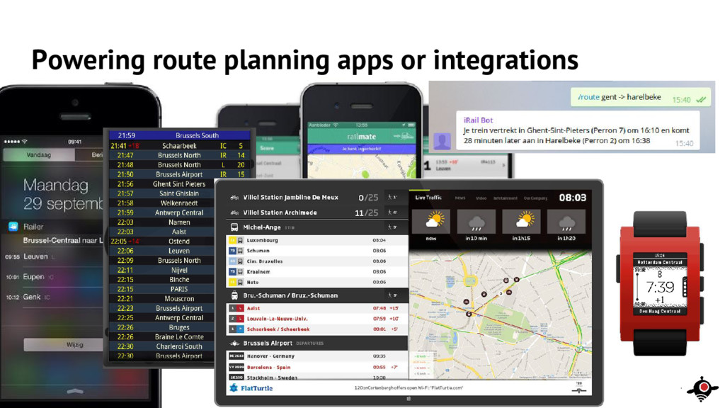 Powering route planning apps or integrations